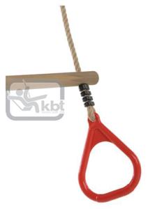 Picture of Trapez din lemn cu inele din plastic PP10, Rosu, 2,55 m