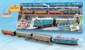 Picture of Trenulet electric Christmas cu lumina, pod si tunel